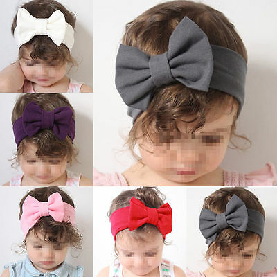 Toddler Girls Baby Kids Bow Headband Hairband Stretch Turban Knot Head Wrap j-c