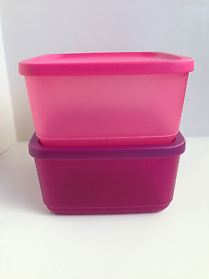 Tupperware Low Square Storers / Square Rounds /Containers x 2- Pink - Brand NEW!