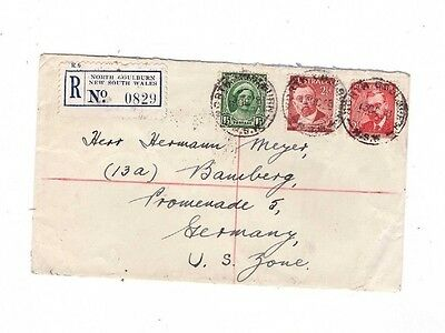 Australia 1948 Registered Cover to Germany, cds NORTH GOULBURN NSW