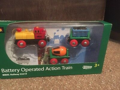 BRIO 33319 Battery Action Train and Wagons for Wooden Train Set