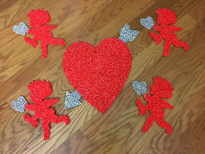 5-Vintage Valentines Day Melted Plastic Popcorn Decorations