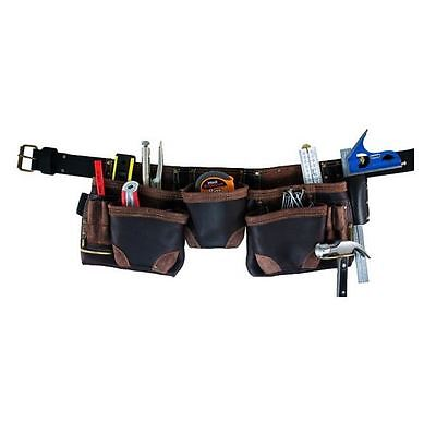 Work Tool Belt 11 Pocket Oil Tanned Split Leather BuildPro Contractor Tradesman