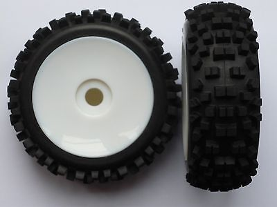 Momentum 1:8 Buggy Off Road White Dish Wheels And Tyres (Pair)