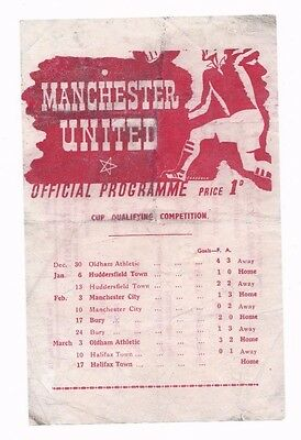 1944/45 MANCHESTER UNITED v HALIFAX TOWN (Football League War Cup Qualifier)