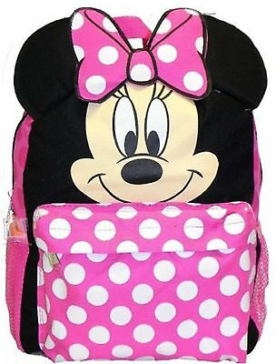 "Minnie Mouse Small Toddler 12"" Cloth Backpack Book Bag Pack - Face"