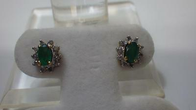 Vintage 10k Yellow Gold Emerald & Diamond Earrings - Lovely Gift!