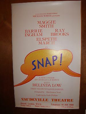 Small West End Theatre Poster - Snap! (Maggie Smith, Ray Brooks)