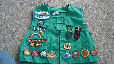 Girl Scout Vest With 33 Badges & Medals, Size 12