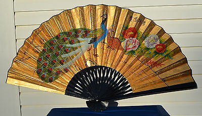 """Oriental Asian Chinese Hand Painted Paper Wall Fan Peacocks 38""""x62"""" SIGNED LABEL"""