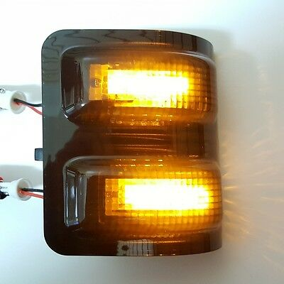 2x For FORD 2008-2016 Super Duty Smoke Amber LED Towing Side Mirror Signal Light