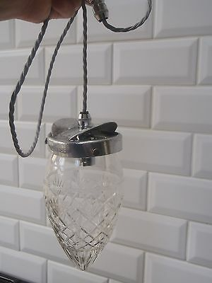 Rewired Restored Antique Edwardian Crystal Pineapple pendent original gallery