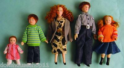 Family Of 5, Poseable Dolls House Dolls For 12Th Scale Dolls House
