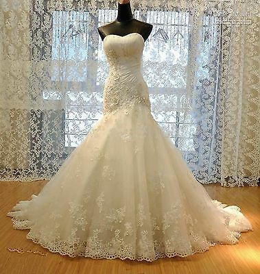 White/ Ivory Mermaid Gown Bridal Wedding Dress Stock Size 6 8 10 12 14 16 18++
