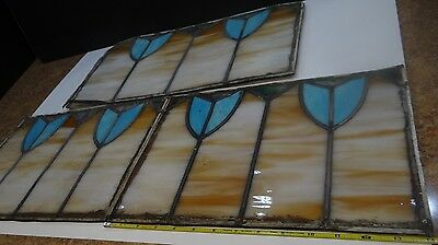 antique stained glass window set
