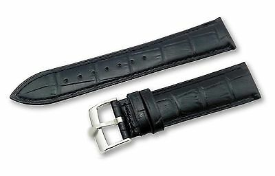 Genuine Leather Croco Strap/Band for Rolex Watch Buckle/Clasp 18 19 20mm BLACK