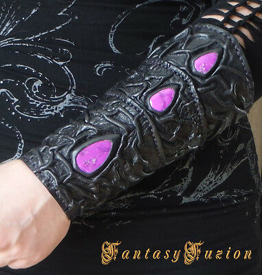 Medieval Sorceress Wizard Druid Queen Witch Leather SINGLE Forearm Bracer