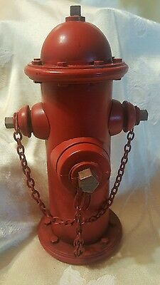 Red fire hydrant bank plastic 9""