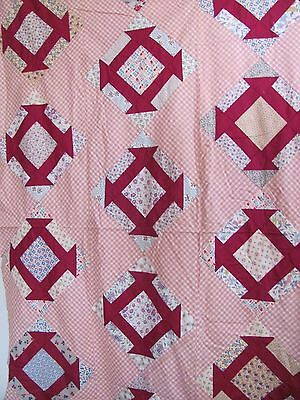 "REDUCED CHURN DASH QUILT TOP 60"" x 82"" M-Pc'd  c1900-25 PINK ZIG-ZAG setting"