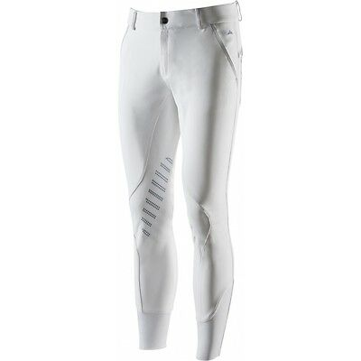 Equi-Theme Aqua White Mens Competition Breeches With Silicone Knee Patches