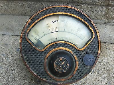 Large VTG Antique 1911 GE 5 Amp Meter Brass Iron Industrial Railroad Ship