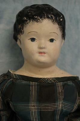 "Large 28""Antique Papier Mache doll Kid and Wood Body Antique Silk Dress 1830-40"