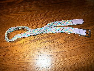 """Unbranded Multi-Colored Faux Leather Braided Girl's Belt 21.5"""" Max Waist"""