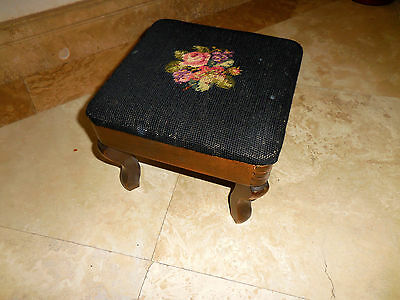 Unique Antique Wood Foot Stool Ottoman Embroidered Top Vintage -