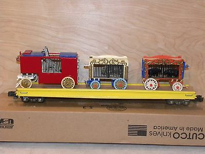 Circus flat car built from wood kit with wagons