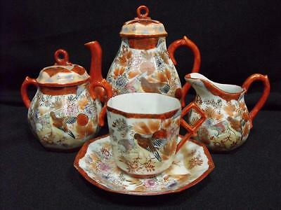 Vintage Chinese Teaset Birds Floral Old Small
