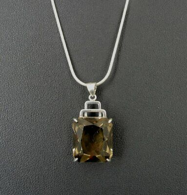 Necklace Silver Smoky Quartz Faceted Stone Sterling Silver 925 Pendant NECKLACE