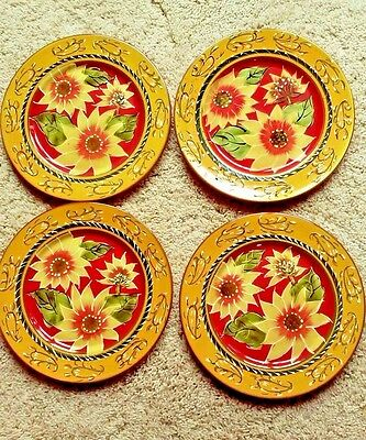"4 NWT Pier 1 Imports SUNFLOWER Hand Painted 8 1/4"" Salad Plates"