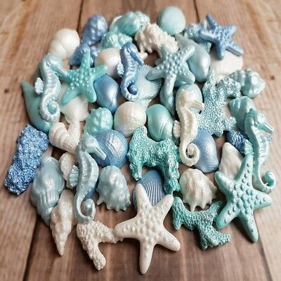 45 Edible Sugar Corals Shells Horses Starfish Cake Cupcake Toppers Airbrushed