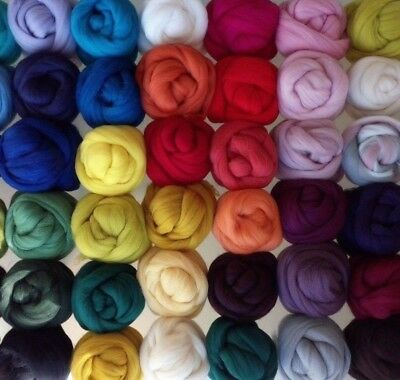 50 colours, 100% Merino Wool Tops Roving for Wet and Needle Felting, 10 - 200 g