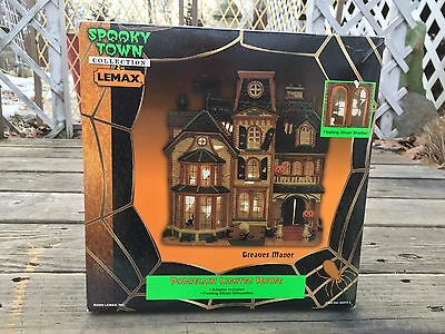 "Lemax SPOOKY TOWN Porcelain Lighted House ""GREAVES MANOR"" New In Box Halloween"