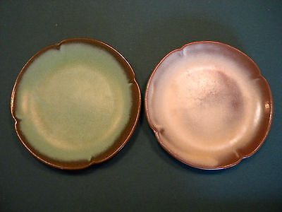 """TWO Frankoma 10"""" dinner plates, one green brown and one cream brown"""