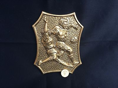 Solid Brass Football Players Plaque