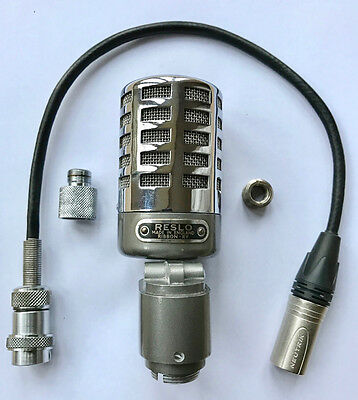 Exceptional Vintage Reslo RVA Ribbon Microphone XLR Cable Stand in Working Order