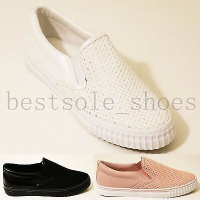 Womens Ladies Spot Slip On Flats Loafers Trainers Plimsolls Pumps Shoes Size