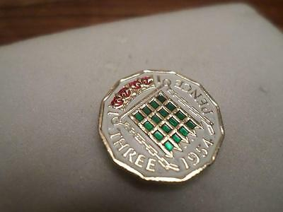 Vintage Hand Painted Threepence Coin 1954. Lucky Charm. Great Birthday Present