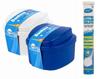 Denture Bath Case Container Box Rinsing Basket & Lid+30 Denture Cleaning Tablets