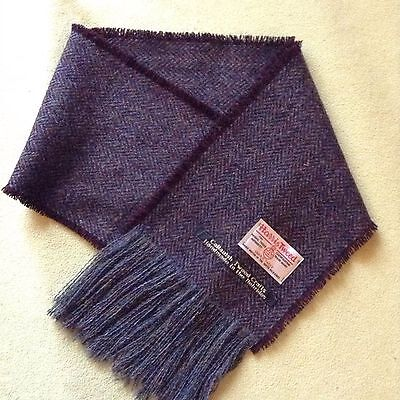 Brown and grey herringbone scarf. Harris Tweed 100% wool