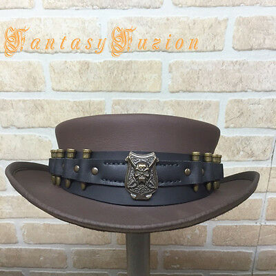 Steampunk Hat Bounty Hunter Skull and Bullets Hatband Leather SHORT 2 Tones