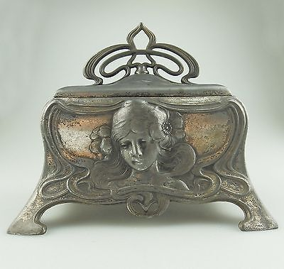 Antique Silver Plate : RARE Art Nouveau WMF Jewellery Box C.1900