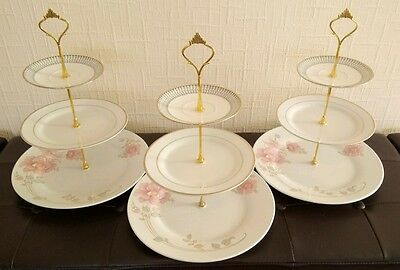 Three (3) x white floral three tier vintage bone china cake stands afternoon tea