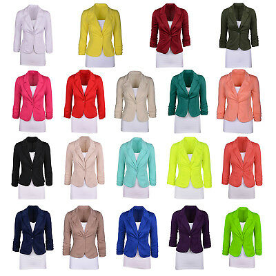 Women's Casual Work Solid Color Knit Blazer Plus Size One button Jacket C9C6