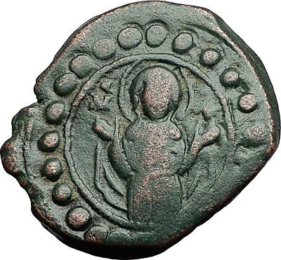 JESUS CHRIST w VIRGIN Class K Anonymous 1st CRUSADE Byzantine Follis Coin i58922