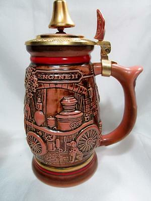 1990 Lidded Avon Beer Stein 'tribute To Fire Fighters'  Kt1225A