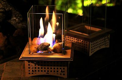 Tabletop Glass Fireplace, This indoor/outdoor lantern can warm your heart!