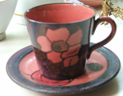 Watcombe Torquay Ware Floral Rose Cup & Saucer