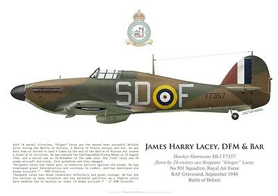 """Print Hurricane I, Sgt """"Ginger"""" Lacey, 501 Sqdn, Battle of Britain (by G. Marie)"""